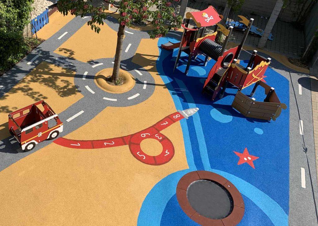 Aménagement d'une aire de jeux école avec circuit 2